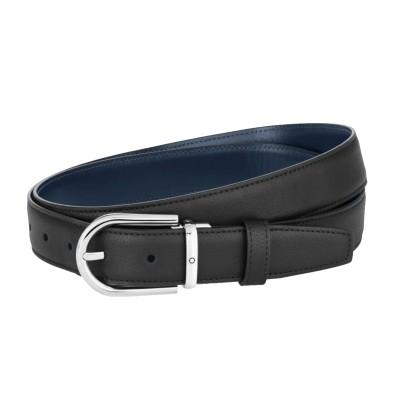 Montblanc » Cintura Reversibile in Pelle Granulata nera/blu Liscia 30 mm con fibbia a Ferro di Cavallo