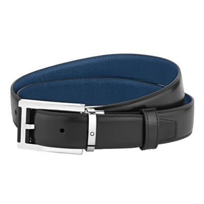 Montblanc » Cintura Reversibile in Pelle Liscia nera/blu Palmellato 30 mm