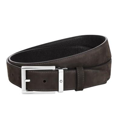 Montblanc » Cintura Reversibile in Pelle Nera/marrone Vacchetta e Nebuck 35 mm