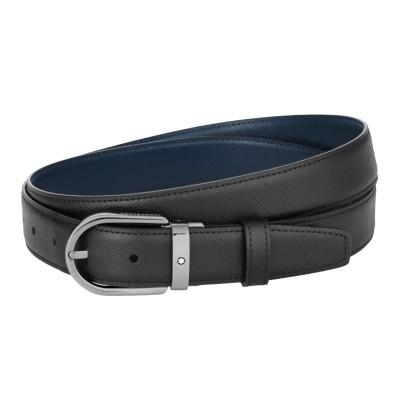 Montblanc » Cintura Reversibile in Pelle nera/blu Stampa Saffiano 30 mm con fibbia a ferro di cavallo in rutenio lucido