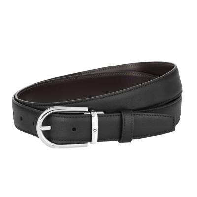 Montblanc » Cintura Reversibile in Pelle Nera/Marrone 30 mm Fibbia ferro di cavallo