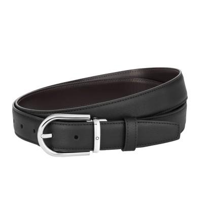 Montblanc » Cintura Reversibile in Pelle Liscia nera/marrone Granulata 30 mm con fibbia a Ferro di Cavallo